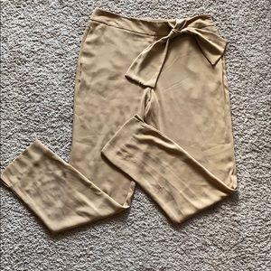 NWOT Zara Camel Bow Trousers